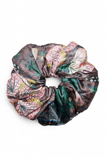 PS-SCR032  Set of 5 Assorted Velvet Scrunchies in Signature Prints