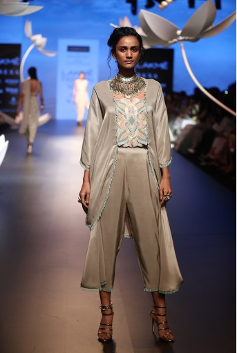 PS-FW506 Seyda Grey Silk Kaftaan Top with Cowl Pant
