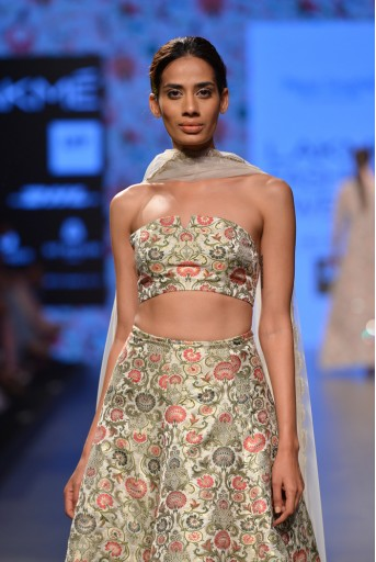 PS-FW379 Shahzadi Stone Brocade Bustier and skirt with Attached Soft Net Churidar and tulle Dupatta