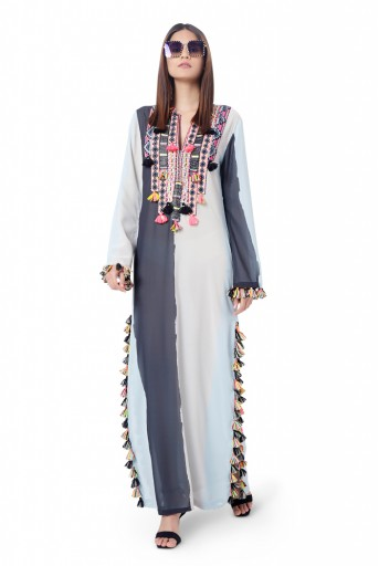 PS-FW780  Shaz Pale Blue Colour Art Georgette Embroidered High-Slit Kaftaan