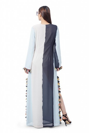 PS-FW780  Shaz Pale Blue Colour Art Georgette Embroidered High-Slit Kaftaan