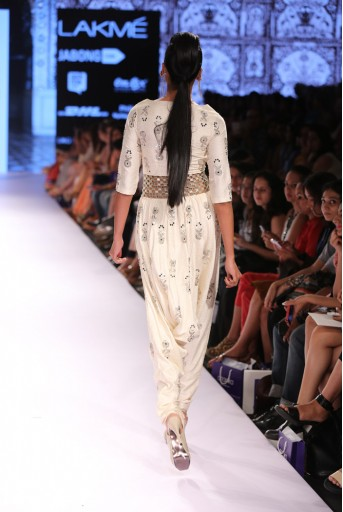 PS-FW312 Sheesh Ivory Printed Dupion Silk Jumpsuit with Belt