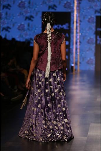 PS-FW559 Shirin Purple Velvet Long Choli with Midnight Blue Velvet Lehenga