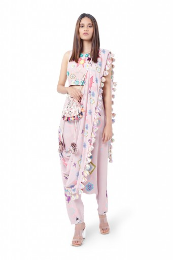 PS-FW739  Shiza Pink Printed Crepe Choli with Low Crotch Pant and attached Georgette Drape Dupatta