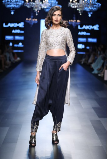 PS-FW423 Sonia Grey Silk Anarkali with Navy Silk Low Crotch Pant