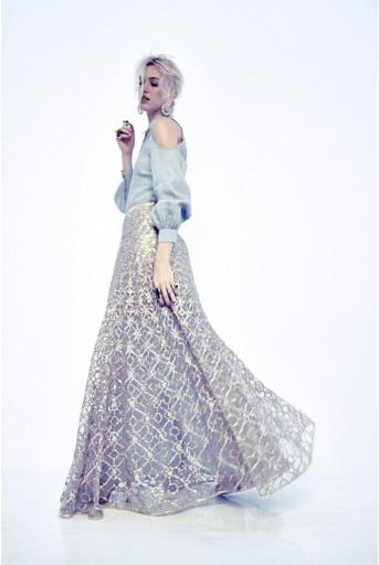 PS-FW241 Sophia Pale Blue Linen Long Shirt Dress with Stone Tule Lehenga