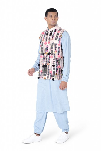 PS-FW763  Stone Colour Dupion Silk Bandi with Blue Colour Denim Bomber Kurta and Jogger Pant