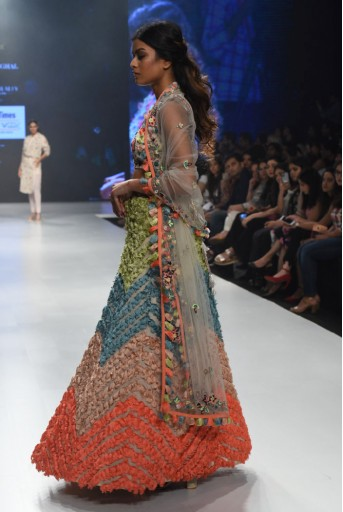 PS-FW673-A-1  Stone Colour Georgette Back Tie-Up Choli with Lehenga and Net Dupatta