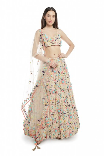 PS-FW675-B  Stone Colour Georgette Choli with Lehenga and Net Dupatta