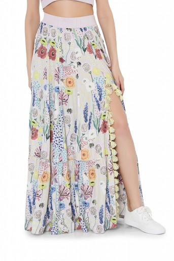 PS-FW825  Stone Colour Printed Art Crepe Bustier and Frill Skirt