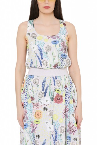 PS-FW824  Stone Colour Printed Art Crepe Racer Back Top with Balloon Skirt