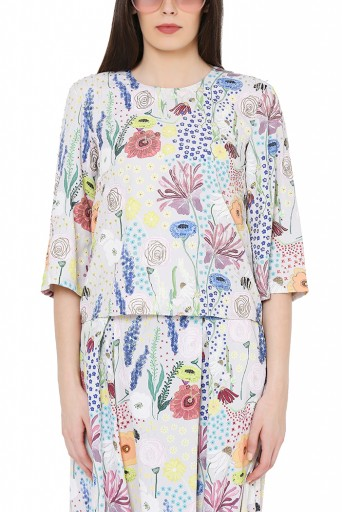 PS-FW823  Stone Colour Printed Art Crepe Top with Low Crotch Pant