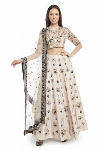 PS-FW580-B  Stone Colour Silk Choli and Lehenga with Net Dupatta