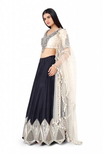 PS-FW573-B-1  Stone Colour Silk Choli with Net Dupatta and Black Colour Dupion Silk Lehenga
