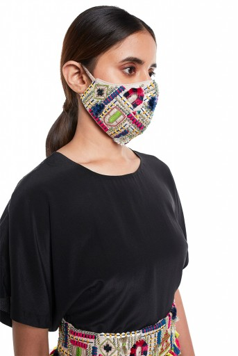 PS-MS0048  Stone Dupion Silk Istanbul Embroidered Mask