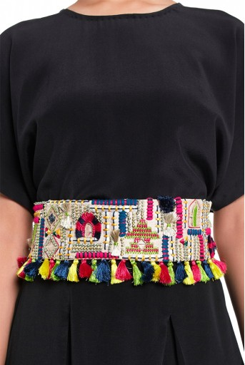 PS-BL011  Stone Dupion Silk Istanbul Embroidered Tie-Up Belt with Colourful Tassels