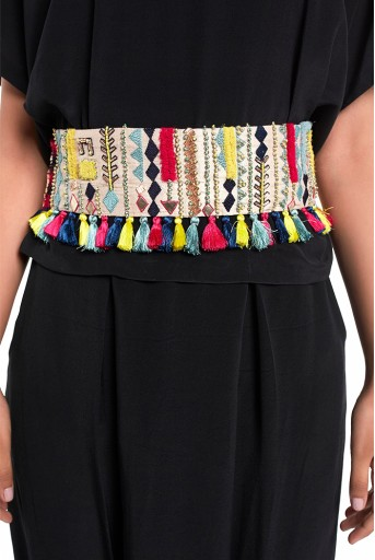PS-BL009  Stone Dupion Silk Marakesh Embroidered Tie- Up Belt with Colourful Tassels