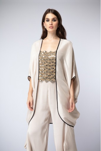 PS-ST1199 Stone Embroidered Kaftaan with Cowl Calf-Length Pants