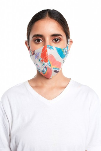 PS-MS0065  Stone Ikat Garden Print Structured 3 Ply Mask with Pouch