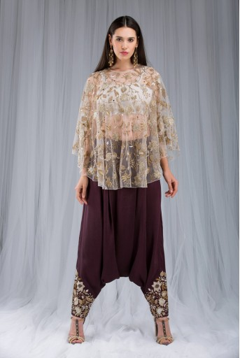 PS-ST0989 Stone Net Cape with Bustier and Purple Silk Low Crotch Pant