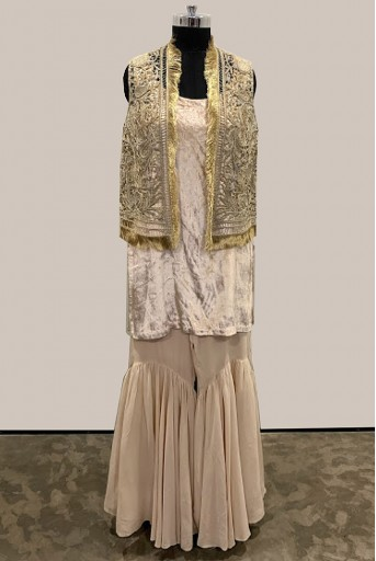 PS-FW563-A-1 Stone Organza Jacket with Velvet Kurta and Georgette Sharara