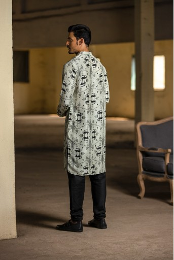 PS-MN051 Stone Printed Silk Kurta with Black Cotton Silk Churidar