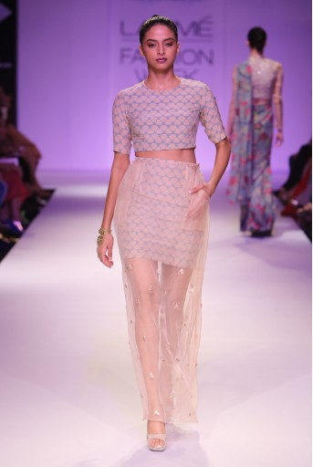 PS-FW264 Suhana Blush and Blue Printed Crepe Crop Top with Printed and Organza Overlay Skirt