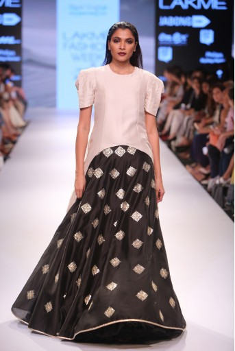 PS-FW350 Sumeria Stone Silk Kurta with Black Silkmul Lehenga