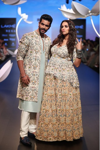PS-FW543 Tahir Ice Blue Silk Kurta with Off White Silk Pant and Stone Organza Jacket
