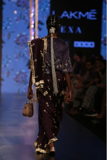 PS-FW560 Tahmina Midnight Blue Velvet Long Choli with Purple Silkmul Saree