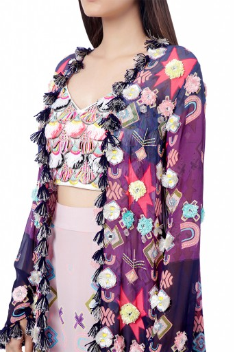 PS-FW742  Tazmeen Purple Printed Art Georgette Duster Jacket with White Crepe Tie-Up Choli and Pink Printed Crepe Low Crotch Pant