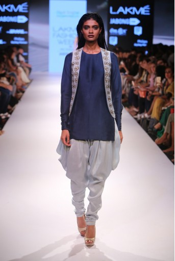 PS-FW364 Tia Navy Silk Kurta with Powder Blue Silk Jacket and Cowl Pant