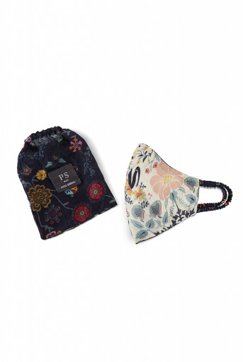 PS-MS0010 Tulip Garden and Navy Spring Print Reversible 3 Ply Mask with Pouch