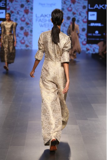 PS-FW384 Ulfat Dove Grey Brocade Jumpsuit