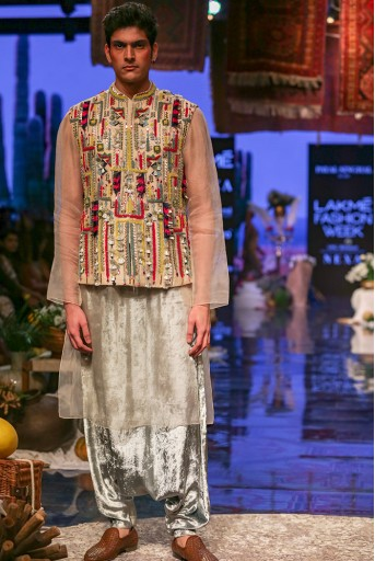 PS-FW663 Umair Stone Organza Bandi and Kurta with Periwinkle Blue Low Crotch Pant