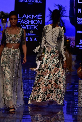 PS-FW629 Uri Chalk White Georgette Bomber Jacket with Printed Velvet Lehenga