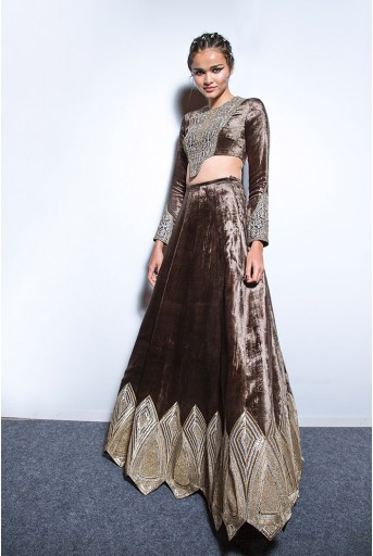 PS-FW573 Varida Forest Green Velvet Choli and Lehenga