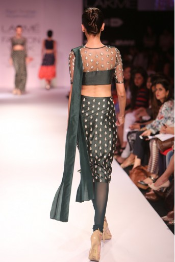 PS-FW275 Veda Emerald Green Silkmul and Tulle Choli with Fitted Churidar Skirt and Silk Pleated Dupatta