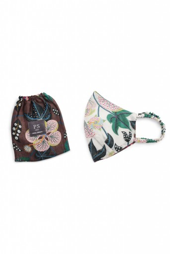 PS-MS0041  PS Men White Abutilon and Brown Abutilon Print Reversible 3 Ply Mask with Pouch for Men