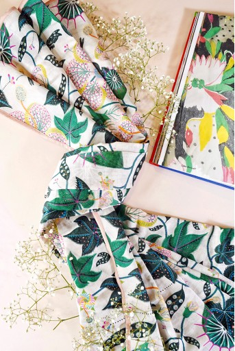 PS-SC0010  White Abutilon Print Full Width Scarf in Gift Box