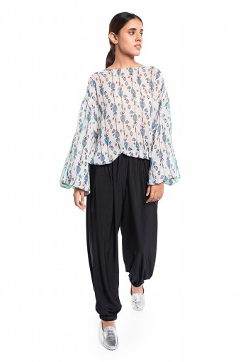 PS-TP0036-B-1  White and Blue Colour Printed Art Georgette Top with Drawstring Details