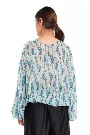 PS-TP0036-B  White and Blue Colour Printed Art Georgette Top with Drawstring Details