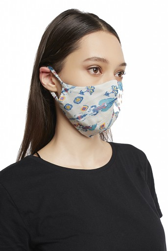 PS-MS0008 White and Blue Ikat Line Print Reversible 3 Ply Mask with Pouch