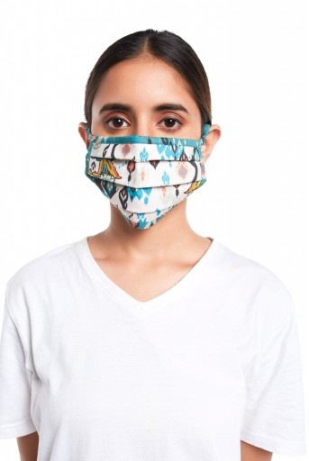 PS-MS0069  White and Blue Ikat Love Print Pleated 3 Ply Mask with Pouch