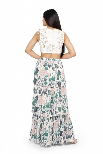 PS-FW613-M-2  White Color Velvet Embroidered Choli with White Printed Layered Sharara Pants