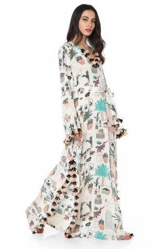 PS-KF0046  White Colour Printed Art Crepe Kaftaan