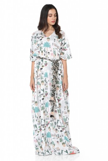 PS-KF0047  White Colour Printed Art Crepe Kaftaan