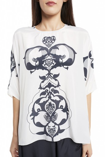 PS-FW420-NNN  White Colour Printed Art Crepe Top with Black Colour Art Crepe Low Crotch Pant