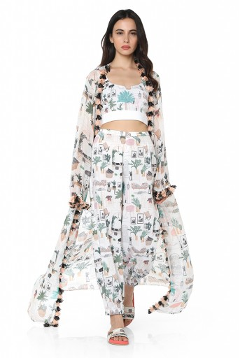 PS-FW712-D  White Colour Printed Art Georgette Duster Jacket with Art crepe Bustier and Jogger Pant