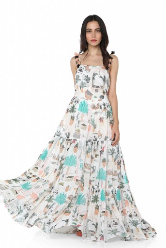 PS-DR0020  White Colour Printed Art Georgette Long Tiered Dress
